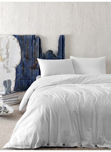 Hibboux 200x220 Vogue Yıkamalı Nevresim + Yastık Kılıfı - White Beyaz